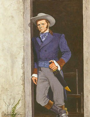 illustrative image of mr. james bowie standing with buoy knife on his waist