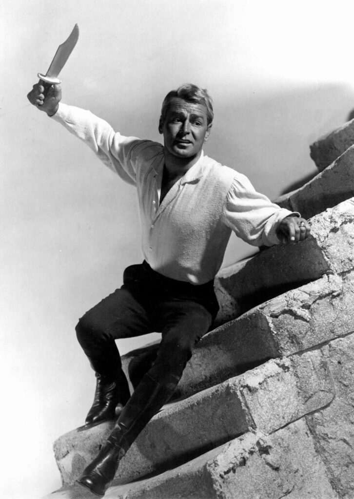 Alan Ladd as Jim Bowie throwing knife in The Iron Mistress Movie
