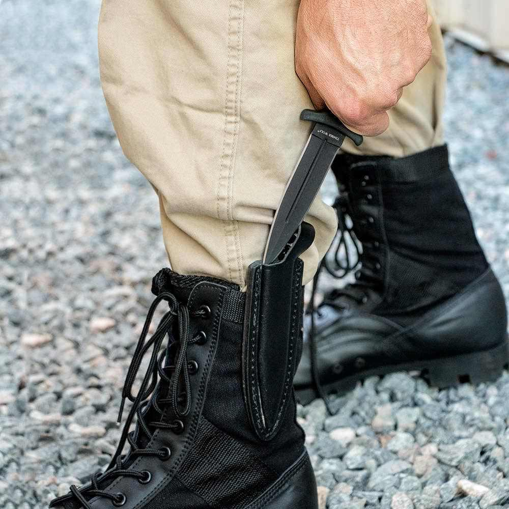 a man concealing a knife on his boot